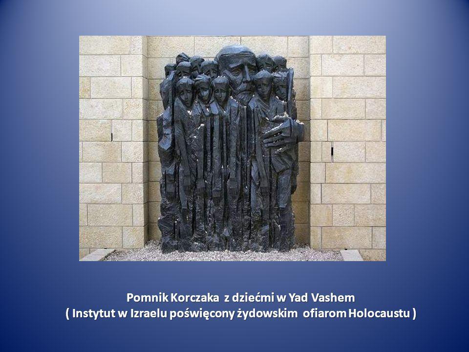 Pomnik Korczaka z dziećmi w Yad Vashem ( Instytut w Izraelu poświęcony żydowskim ofiarom Holocaustu )