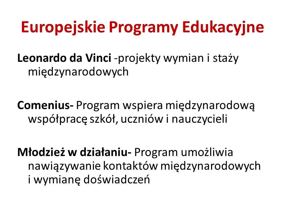 Europejskie Programy Edukacyjne Leonardo da Vinci -projekty wymian i staży międzynarodowych Comenius- Program wspiera międzynarodową współpracę szkół,