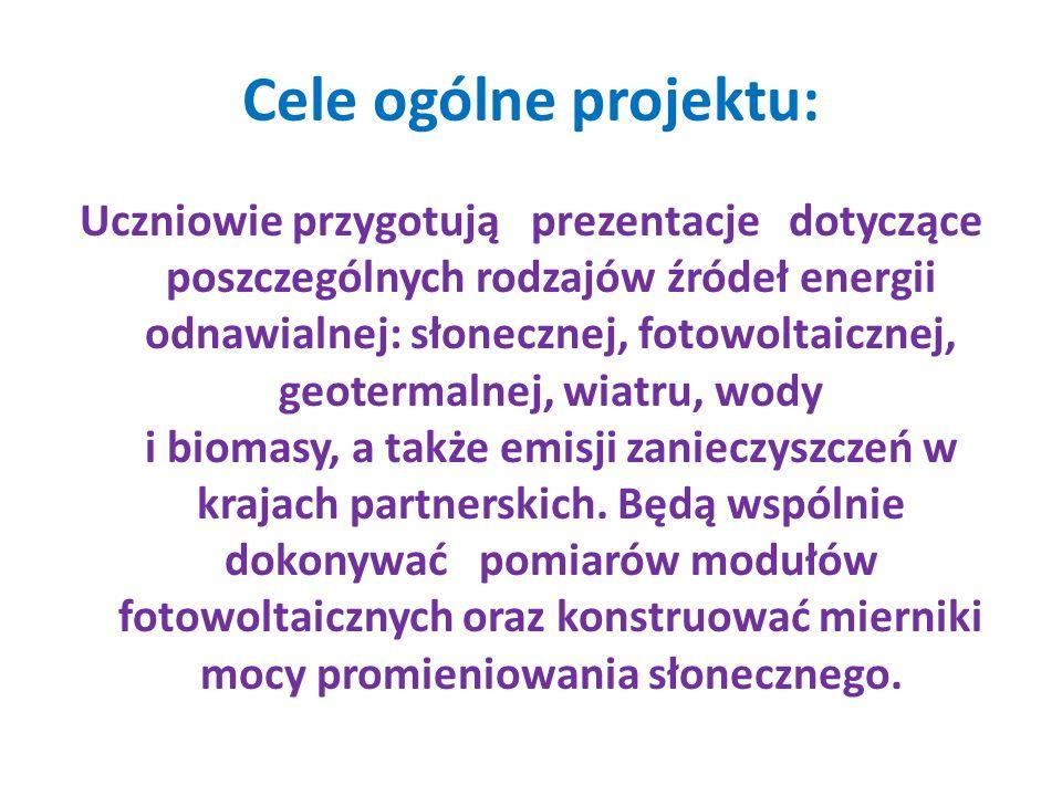 Cele ogólne projektu: Uczniowie przygotują prezentacje dotyczące poszczególnych rodzajów źródeł energii odnawialnej: słonecznej, fotowoltaicznej, geot