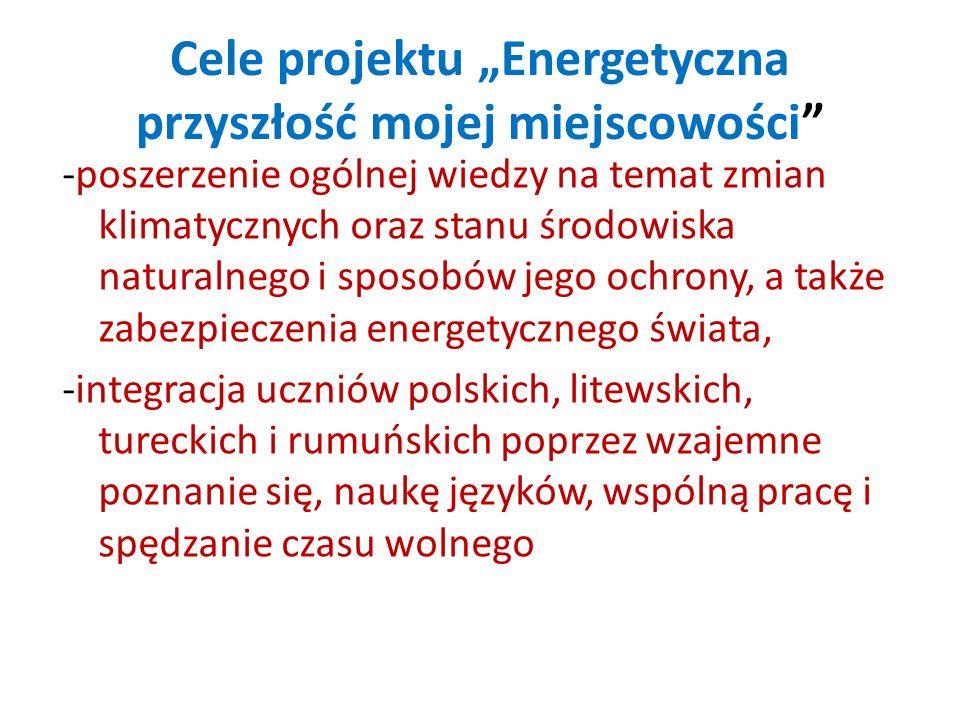 Cele projektu Energetyczna przyszłość mojej miejscowości -poszerzenie ogólnej wiedzy na temat zmian klimatycznych oraz stanu środowiska naturalnego i