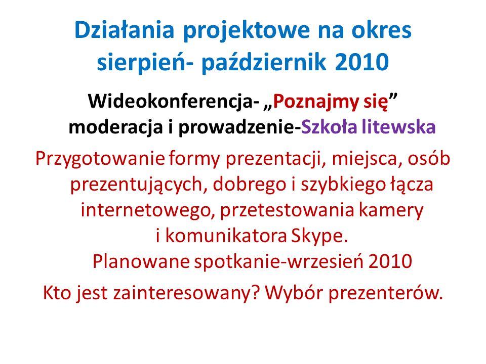 Działania projektowe na okres sierpień- październik 2010 Wideokonferencja- Poznajmy się moderacja i prowadzenie-Szkoła litewska Przygotowanie formy pr