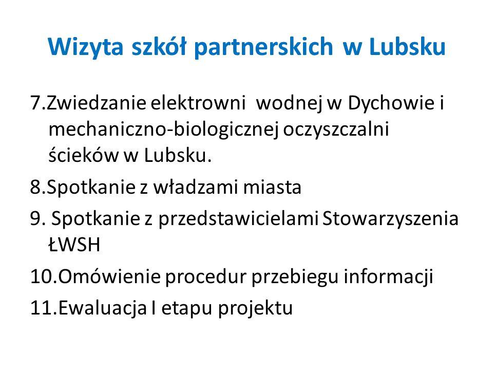 Wizyta szkół partnerskich w Lubsku 7.Zwiedzanie elektrowni wodnej w Dychowie i mechaniczno-biologicznej oczyszczalni ścieków w Lubsku. 8.Spotkanie z w