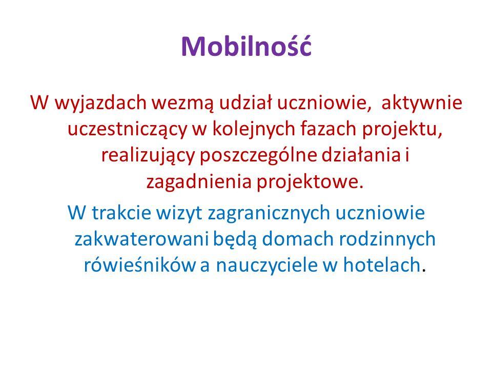 Mobilność W wyjazdach wezmą udział uczniowie, aktywnie uczestniczący w kolejnych fazach projektu, realizujący poszczególne działania i zagadnienia pro