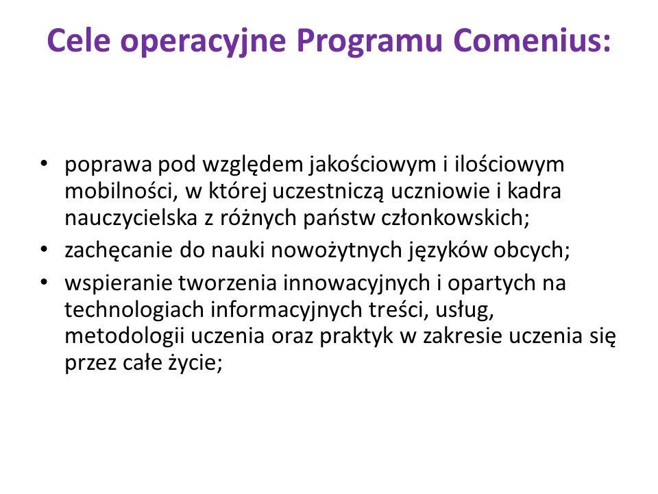 Cele operacyjne Programu Comenius: poprawa pod względem jakościowym i ilościowym mobilności, w której uczestniczą uczniowie i kadra nauczycielska z ró