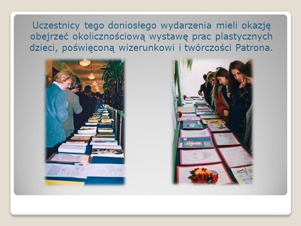 Uczestnicy tego doniosłego wydarzenia mieli okazję obejrzeć okolicznościową wystawę prac plastycznych dzieci, poświęconą wizerunkowi i twórczości Patr