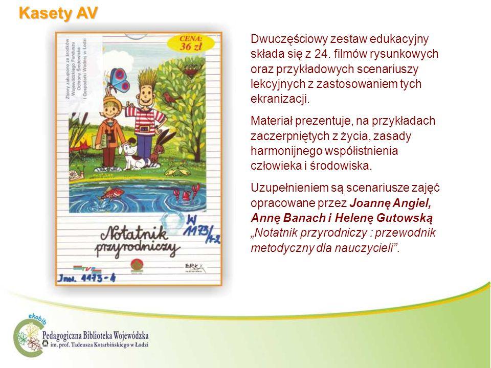 Kasety AV Dwuczęściowy zestaw edukacyjny składa się z 24. filmów rysunkowych oraz przykładowych scenariuszy lekcyjnych z zastosowaniem tych ekranizacj