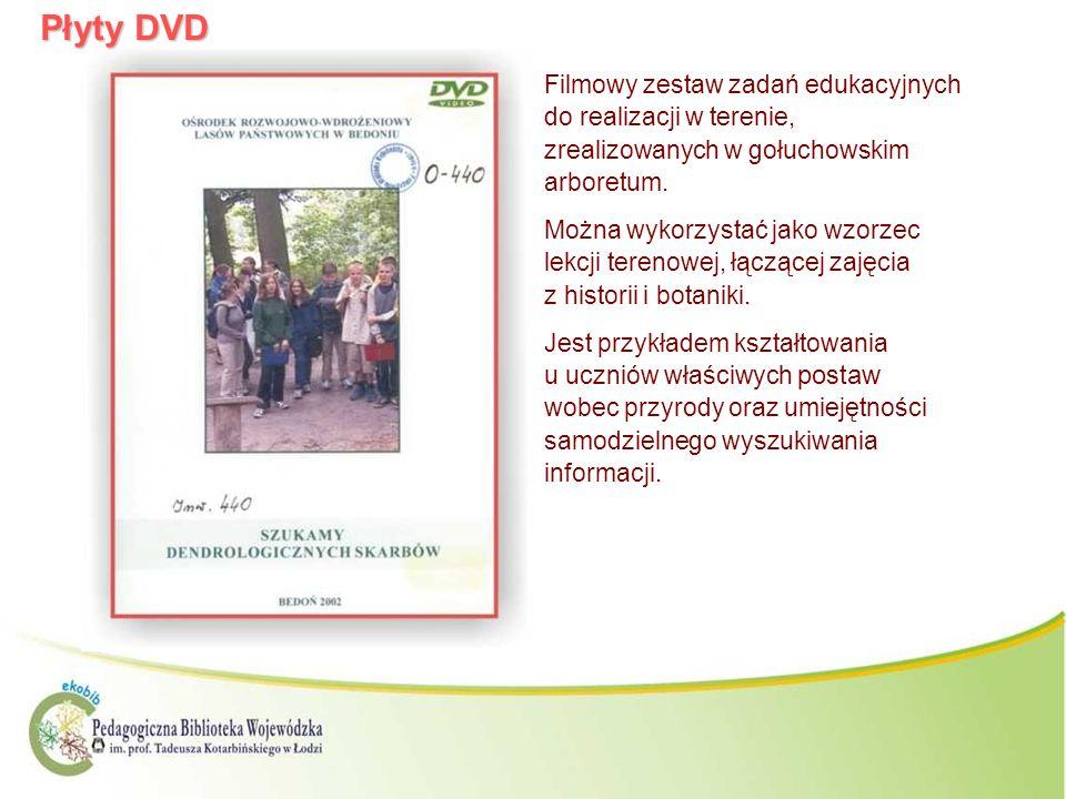 Płyty DVD Filmowy zestaw zadań edukacyjnych do realizacji w terenie, zrealizowanych w gołuchowskim arboretum. Można wykorzystać jako wzorzec lekcji te
