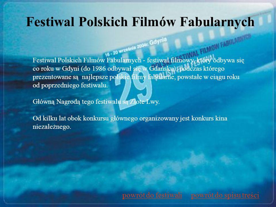 Festiwal Polskich Filmów Fabularnych Festiwal Polskich Filmów Fabularnych - festiwal filmowy, który odbywa się co roku w Gdyni (do 1986 odbywał się w