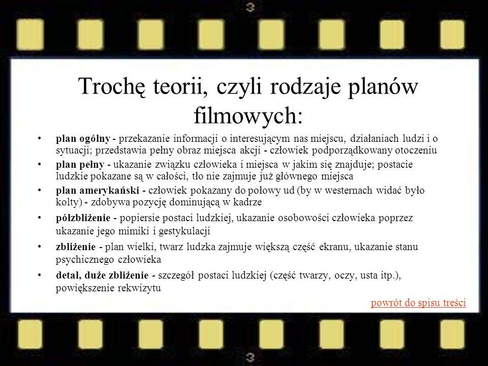 Trochę teorii, czyli rodzaje planów filmowych: plan ogólny - przekazanie informacji o interesującym nas miejscu, działaniach ludzi i o sytuacji; przed