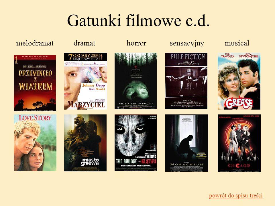 melodramatdramathorrorsensacyjnymusical Gatunki filmowe c.d. powrót do spisu treści
