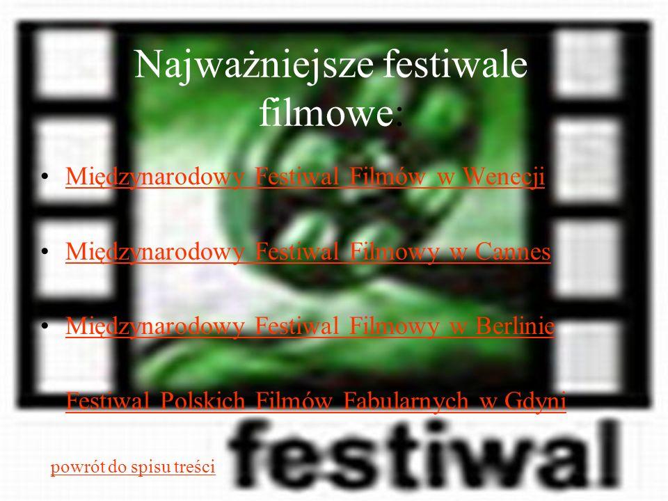 Najważniejsze festiwale filmowe: Międzynarodowy Festiwal Filmów w Wenecji Międzynarodowy Festiwal Filmowy w Cannes Międzynarodowy Festiwal Filmowy w B