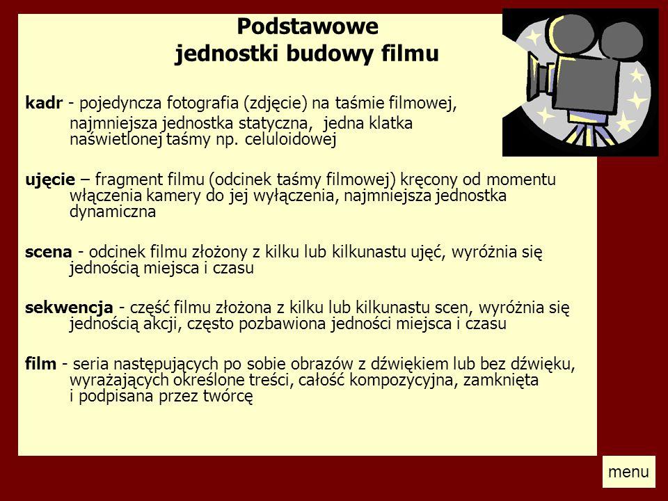 Podstawowe jednostki budowy filmu kadr - pojedyncza fotografia (zdjęcie) na taśmie filmowej, najmniejsza jednostka statyczna, jedna klatka naświetlone