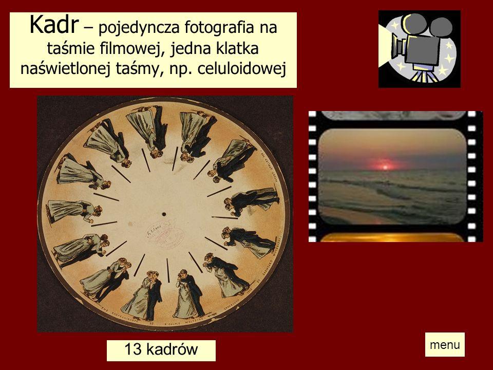 Kadr – pojedyncza fotografia na taśmie filmowej, jedna klatka naświetlonej taśmy, np. celuloidowej 13 kadrów menu