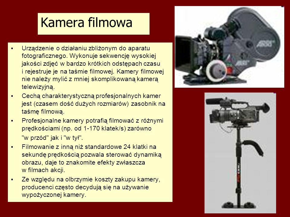 Kamera filmowa Urządzenie o działaniu zbliżonym do aparatu fotograficznego. Wykonuje sekwencję wysokiej jakości zdjęć w bardzo krótkich odstępach czas