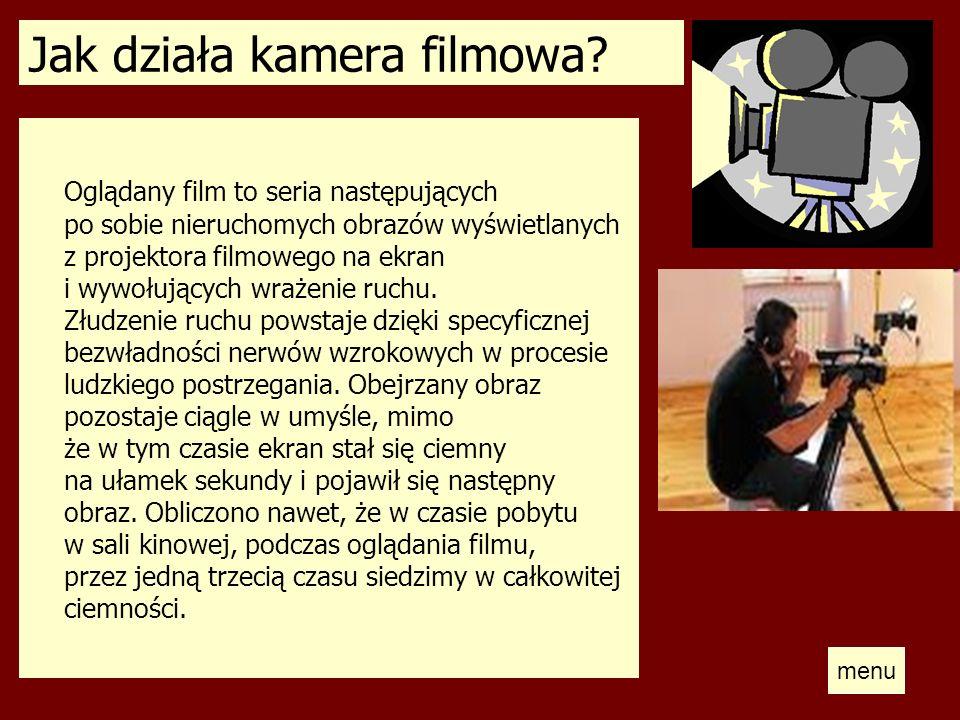 Jak działa kamera filmowa? Oglądany film to seria następujących po sobie nieruchomych obrazów wyświetlanych z projektora filmowego na ekran i wywołują