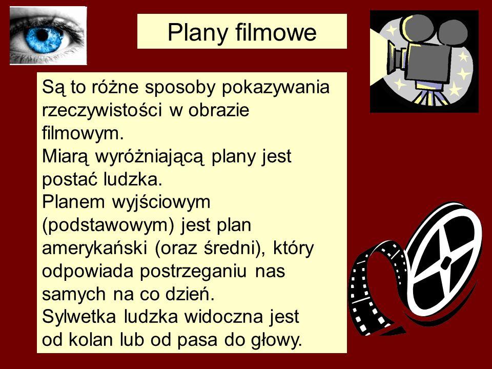Plany filmowe Są to różne sposoby pokazywania rzeczywistości w obrazie filmowym. Miarą wyróżniającą plany jest postać ludzka. Planem wyjściowym (podst