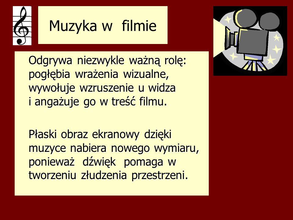 Funkcje muzyki w filmie imitatorska (naśladowanie naturalnych efektów akustycznych) imitatorska (naśladowanie naturalnych efektów akustycznych) komentatorska (komentarz do warstwy wizualnej) komentatorska (komentarz do warstwy wizualnej) wywoławcza (wiązanie muzyki z określonymi treściami wizualnymi) wywoławcza (wiązanie muzyki z określonymi treściami wizualnymi) kontrastująca (przeciwstawianie muzyki obrazom, wydobywanie sprzeczności i konfliktów) kontrastująca (przeciwstawianie muzyki obrazom, wydobywanie sprzeczności i konfliktów) dynamiczna (stosowanie odpowiedników dźwiękowych obrazu, podkreślenie rytmu) dynamiczna (stosowanie odpowiedników dźwiękowych obrazu, podkreślenie rytmu)