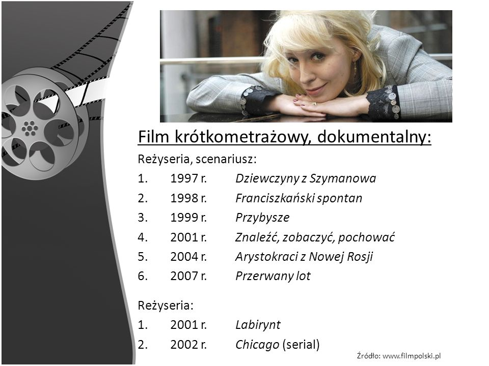 Film krótkometrażowy, dokumentalny: Reżyseria, scenariusz: 1.1997 r. Dziewczyny z Szymanowa 2.1998 r. Franciszkański spontan 3.1999 r. Przybysze 4.200