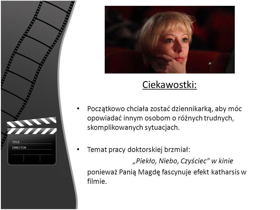 Ciekawostki: Trzykrotnie próbowała dostać się do szkoły teatralnej, ponieważ myślała o aktorstwie W 2006 roku otrzymała list gratulacyjny od Prezydenta Rzeczpospolitej Polskiej