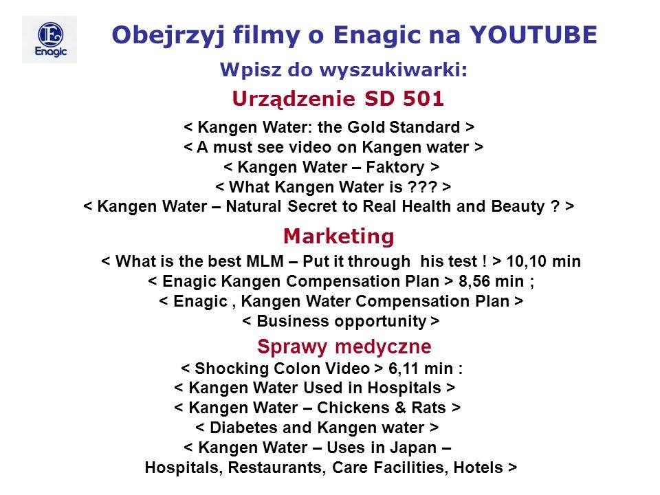 Obejrzyj filmy o Enagic na YOUTUBE Wpisz do wyszukiwarki: 10,10 min 8,56 min ; Urządzenie SD 501 Marketing Sprawy medyczne 6,11 min : < Kangen Water –