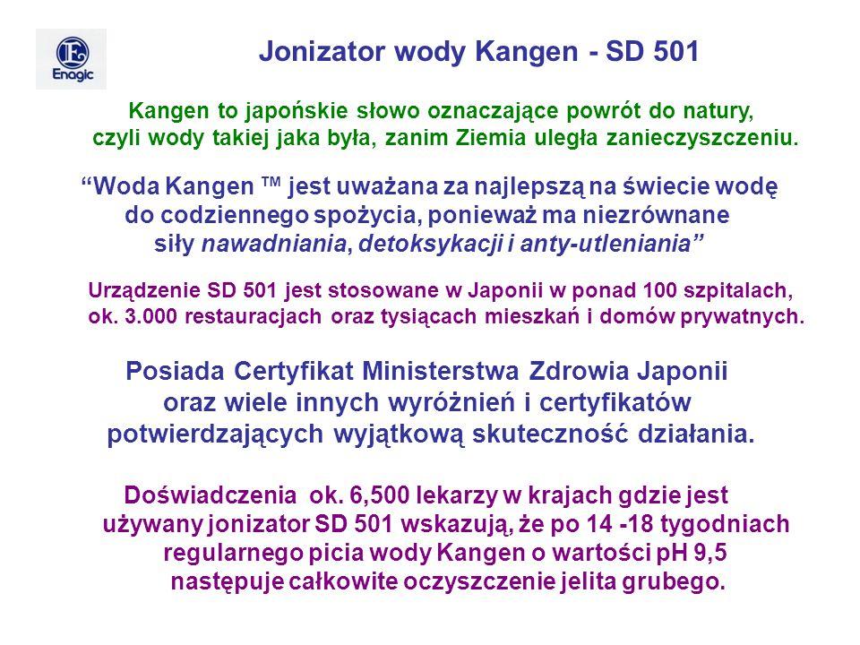 Jonizator wody Kangen - SD 501 Kangen to japońskie słowo oznaczające powrót do natury, czyli wody takiej jaka była, zanim Ziemia uległa zanieczyszczen
