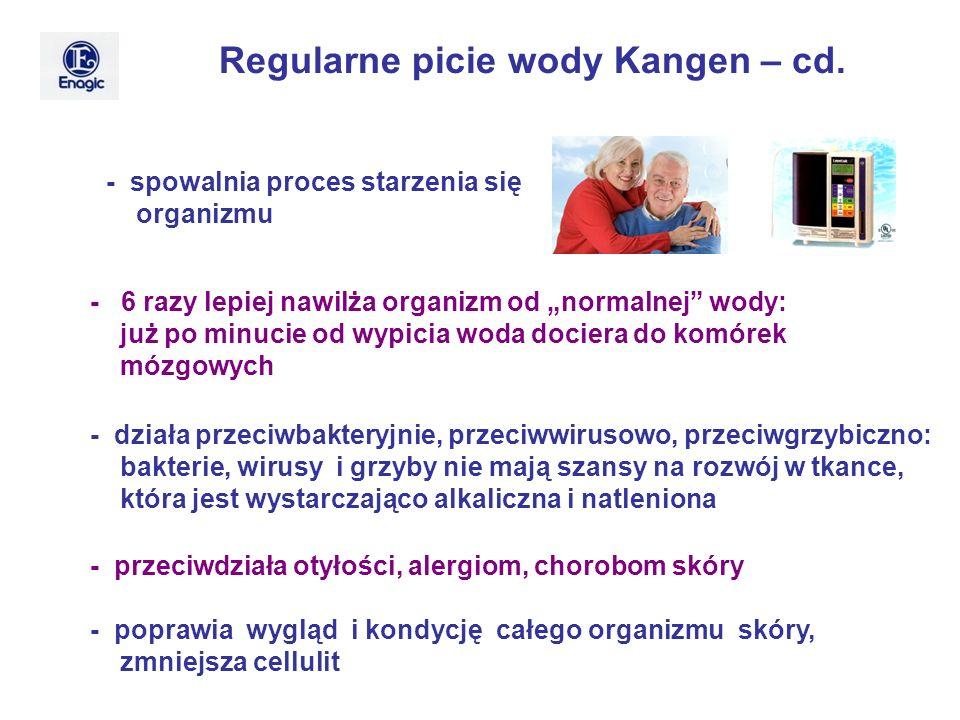 Regularne picie wody Kangen – cd. - spowalnia proces starzenia się organizmu - 6 razy lepiej nawilża organizm od normalnej wody: już po minucie od wyp