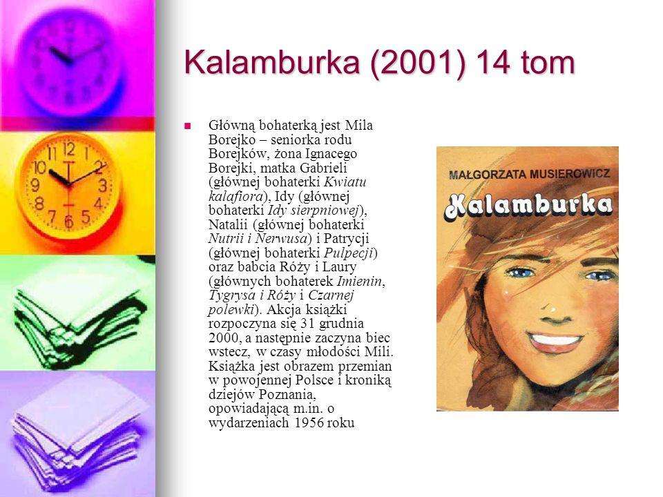 Kalamburka (2001) 14 tom Główną bohaterką jest Mila Borejko – seniorka rodu Borejków, żona Ignacego Borejki, matka Gabrieli (głównej bohaterki Kwiatu