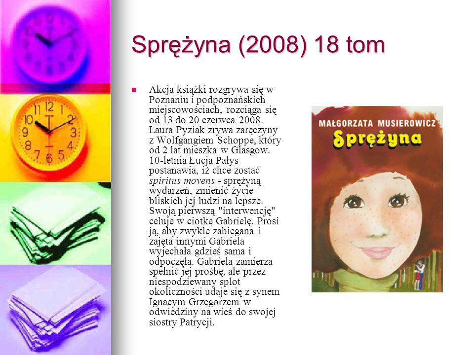 Sprężyna (2008) 18 tom Akcja książki rozgrywa się w Poznaniu i podpoznańskich miejscowościach, rozciąga się od 13 do 20 czerwca 2008. Laura Pyziak zry