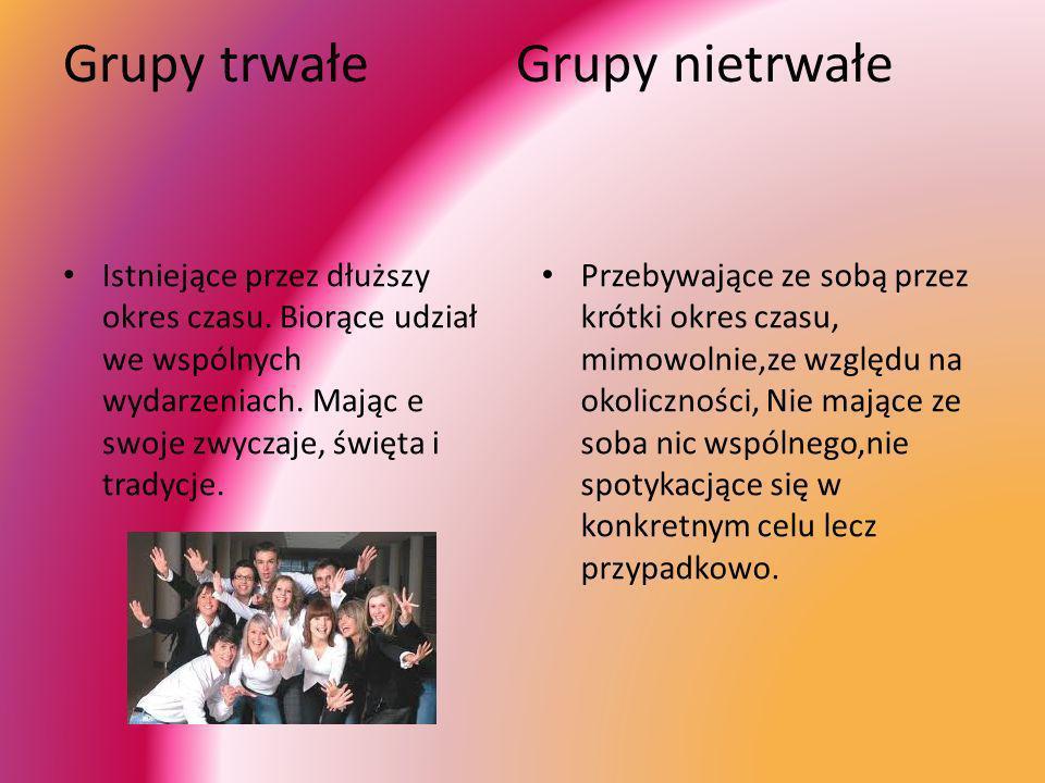 Grupy trwałe Grupy nietrwałe Istniejące przez dłuższy okres czasu. Biorące udział we wspólnych wydarzeniach. Mając e swoje zwyczaje, święta i tradycje
