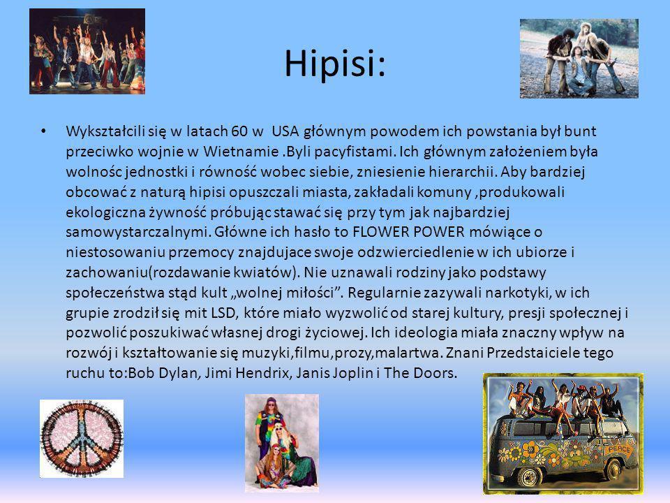 Hipisi: Wykształcili się w latach 60 w USA głównym powodem ich powstania był bunt przeciwko wojnie w Wietnamie.Byli pacyfistami. Ich głównym założenie
