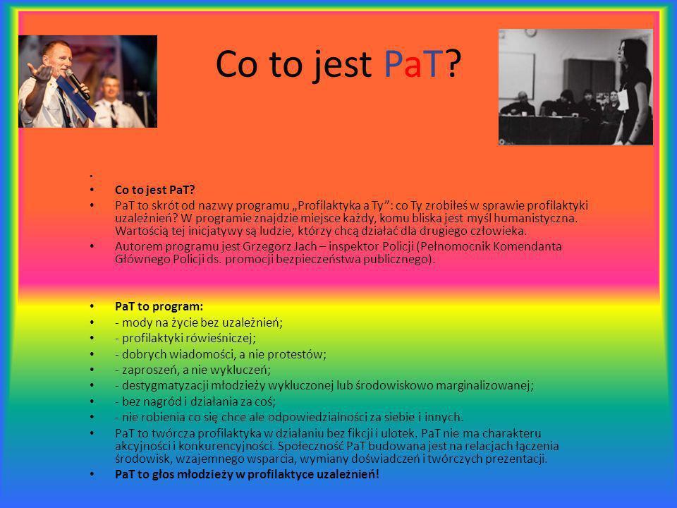 Co to jest PaT? Co to jest PaT? PaT to skrót od nazwy programu Profilaktyka a Ty: co Ty zrobiłeś w sprawie profilaktyki uzależnień? W programie znajdz