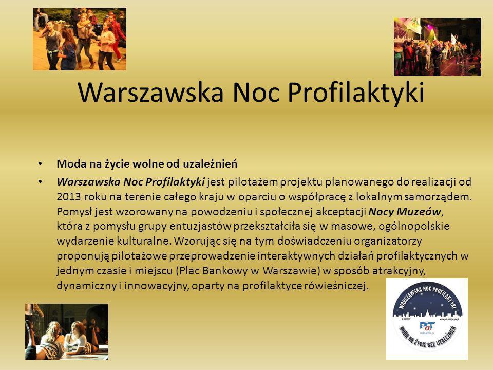 Warszawska Noc Profilaktyki Moda na życie wolne od uzależnień Warszawska Noc Profilaktyki jest pilotażem projektu planowanego do realizacji od 2013 ro