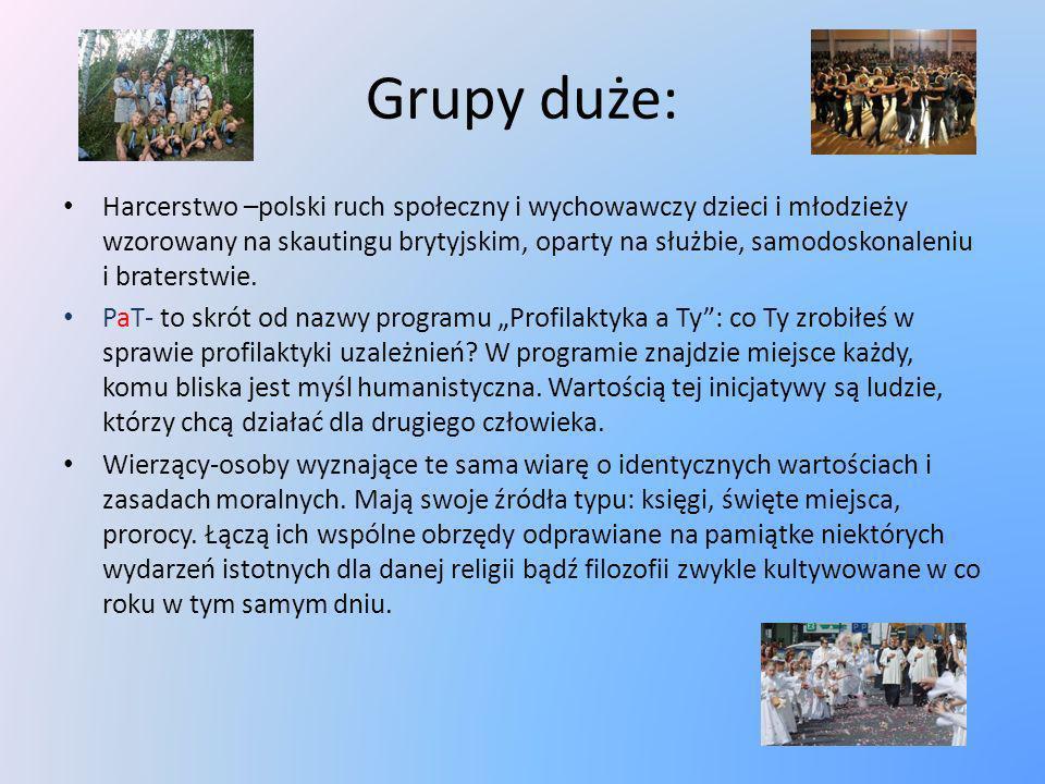 Grupy duże: Harcerstwo –polski ruch społeczny i wychowawczy dzieci i młodzieży wzorowany na skautingu brytyjskim, oparty na służbie, samodoskonaleniu