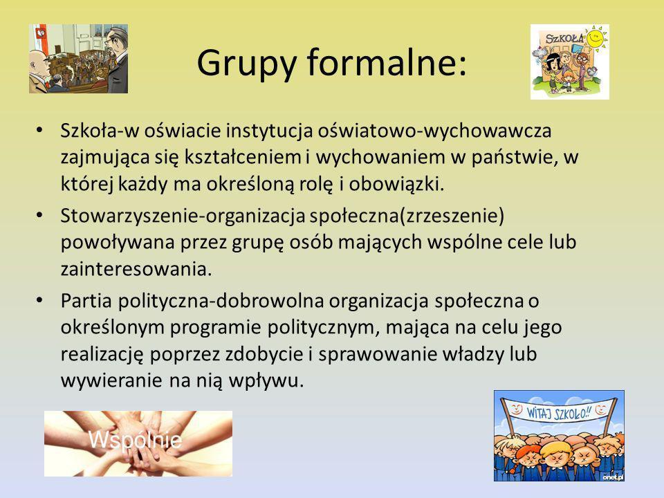 Grupy nieformalne: Grupa znajomych-tworzona spontanicznie, z która łącza nas wspólne tematy rozmowy, koleżeńskie relacje, podobne poglądy oraz pasje.