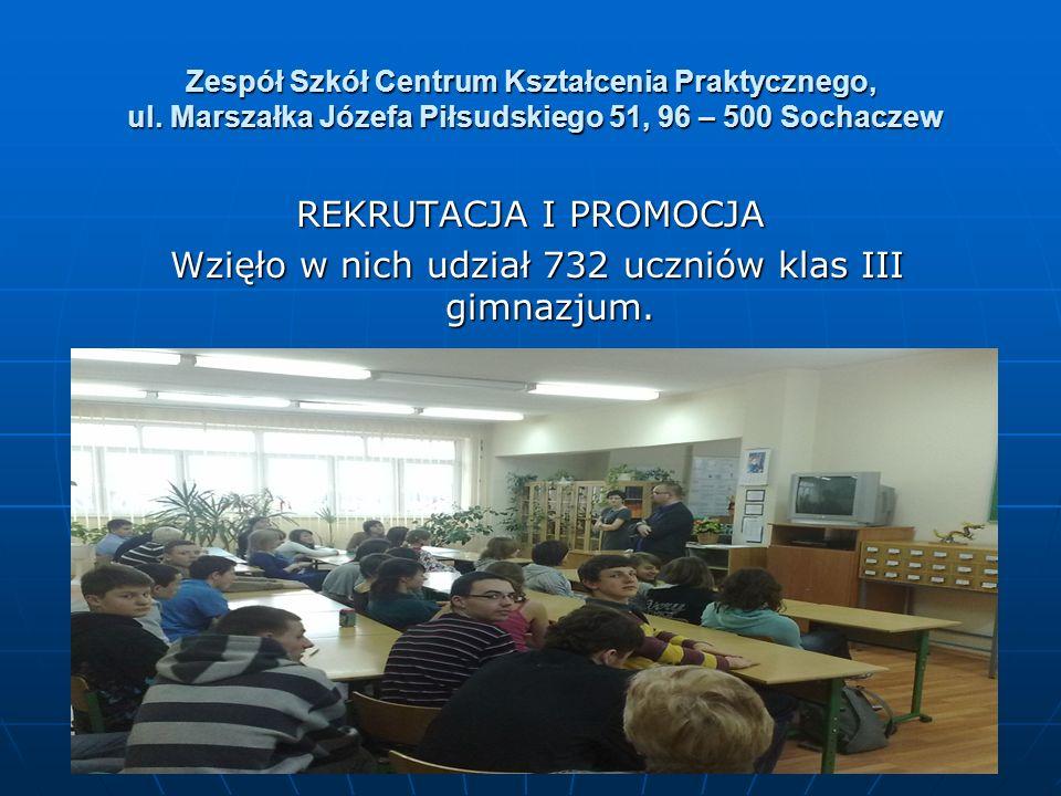 REKRUTACJA I PROMOCJA Wzięło w nich udział 732 uczniów klas III gimnazjum. Wzięło w nich udział 732 uczniów klas III gimnazjum.