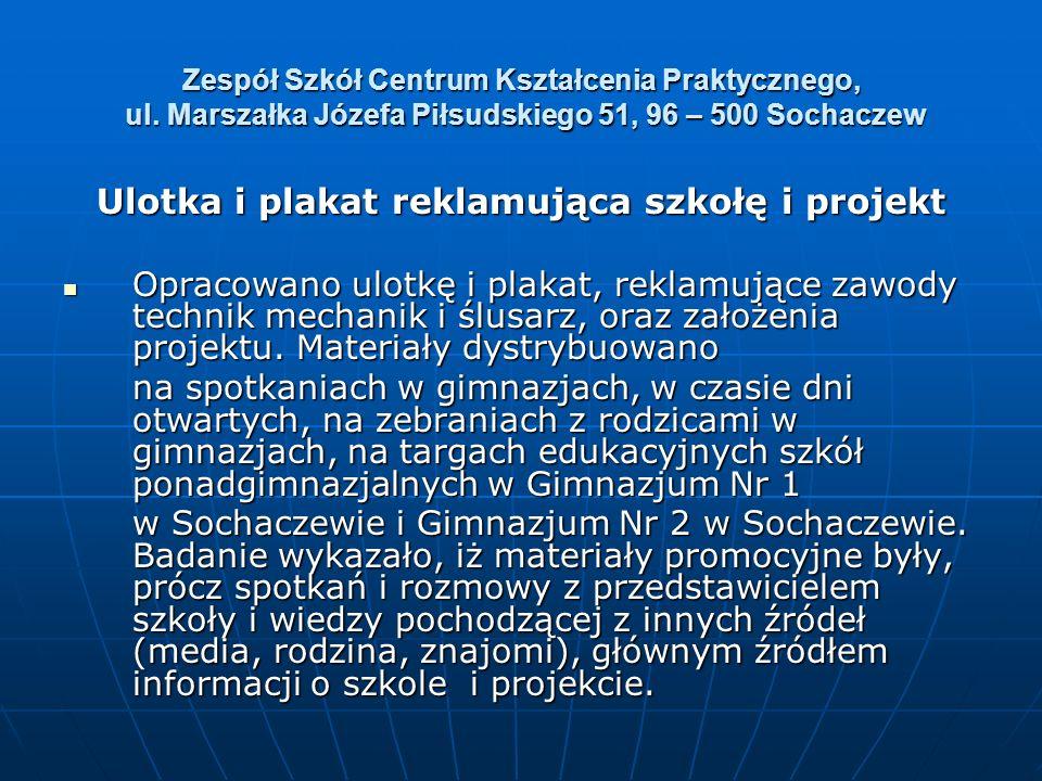 Zespół Szkół Centrum Kształcenia Praktycznego, ul. Marszałka Józefa Piłsudskiego 51, 96 – 500 Sochaczew Ulotka i plakat reklamująca szkołę i projekt O