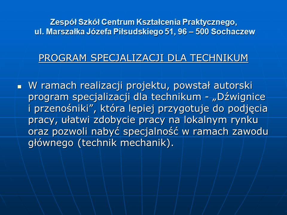 Zespół Szkół Centrum Kształcenia Praktycznego, ul. Marszałka Józefa Piłsudskiego 51, 96 – 500 Sochaczew PROGRAM SPECJALIZACJI DLA TECHNIKUM W ramach r