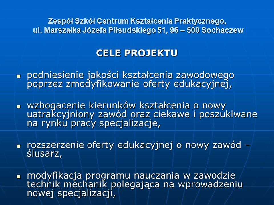 Zespół Szkół Centrum Kształcenia Praktycznego, ul. Marszałka Józefa Piłsudskiego 51, 96 – 500 Sochaczew CELE PROJEKTU podniesienie jakości kształcenia