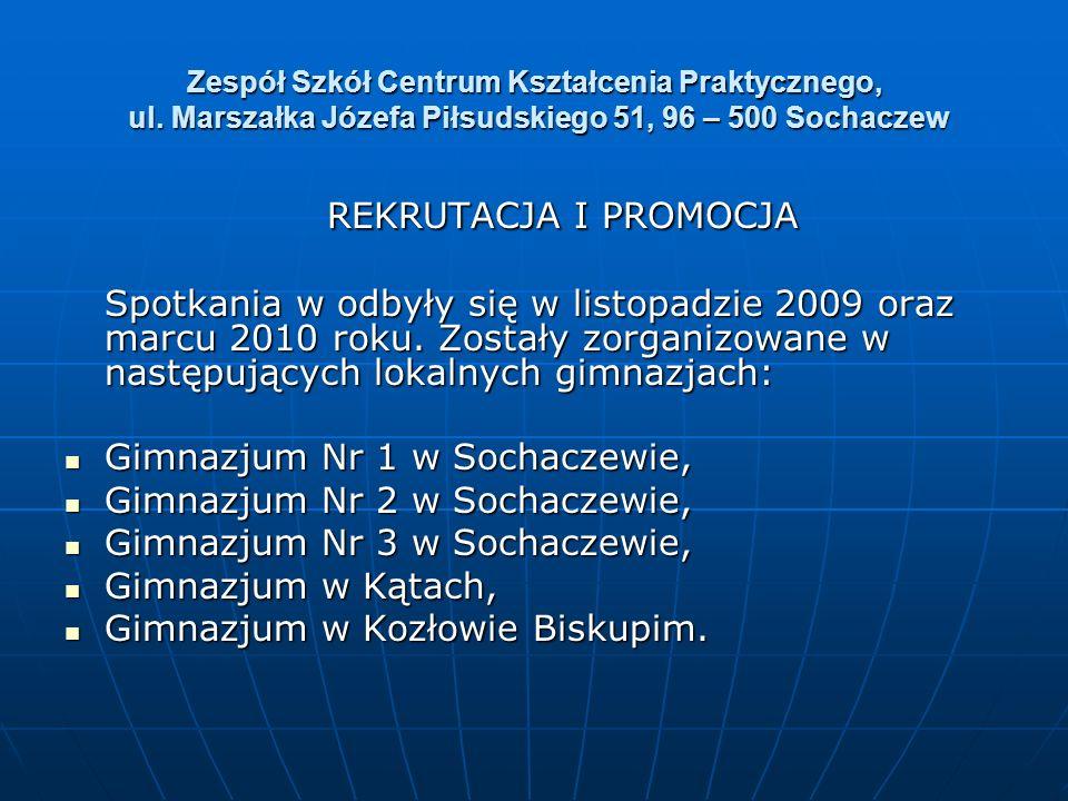 Zespół Szkół Centrum Kształcenia Praktycznego, ul. Marszałka Józefa Piłsudskiego 51, 96 – 500 Sochaczew REKRUTACJA I PROMOCJA REKRUTACJA I PROMOCJA Sp