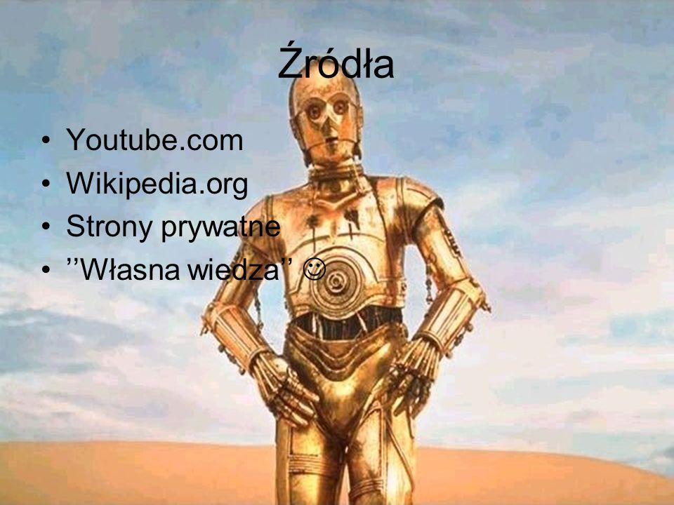Źródła Youtube.com Wikipedia.org Strony prywatne Własna wiedza