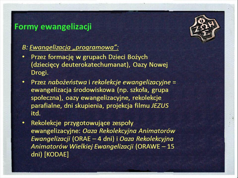 Formy ewangelizacji B: Ewangelizacja programowa: Przez formację w grupach Dzieci Bożych (dziecięcy deuterokatechumanat), Oazy Nowej Drogi. Przez naboż