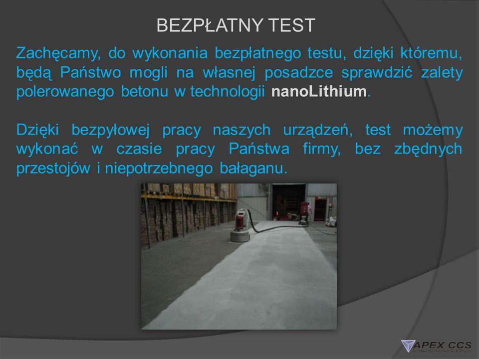 BEZPŁATNY TEST Zachęcamy, do wykonania bezpłatnego testu, dzięki któremu, będą Państwo mogli na własnej posadzce sprawdzić zalety polerowanego betonu