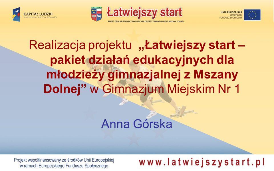 Realizacja projektu Łatwiejszy start – pakiet działań edukacyjnych dla młodzieży gimnazjalnej z Mszany Dolnej w Gimnazjum Miejskim Nr 1 Anna Górska