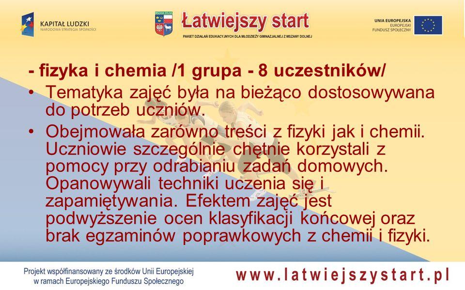 - język polski /2 grupy - 16 uczestników/ Zajęcia były prowadzone w dwóch ośmioosobowych grupach: A- dla uczniów klas trzecich i B – dla klas drugich, w wymiarze jednej godziny tygodniowo.