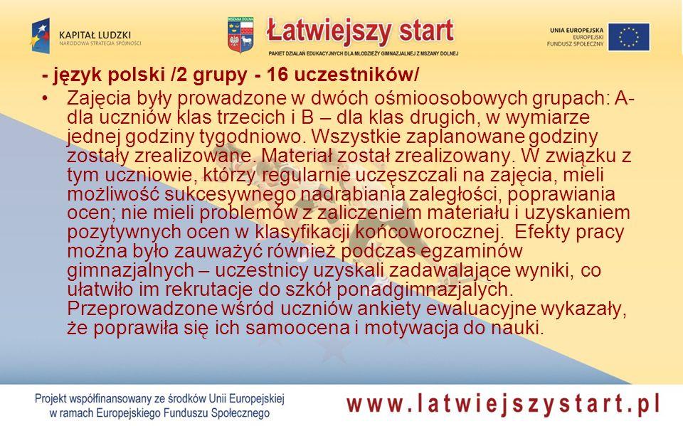 - język polski /2 grupy - 16 uczestników/ Zajęcia były prowadzone w dwóch ośmioosobowych grupach: A- dla uczniów klas trzecich i B – dla klas drugich,