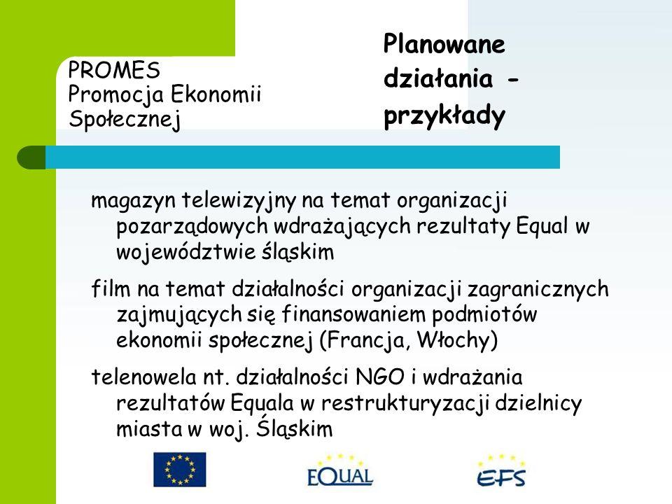 PROMES Promocja Ekonomii Społecznej magazyn telewizyjny na temat organizacji pozarządowych wdrażających rezultaty Equal w województwie śląskim film na temat działalności organizacji zagranicznych zajmujących się finansowaniem podmiotów ekonomii społecznej (Francja, Włochy) telenowela nt.