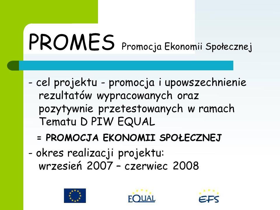 PROMES Promocja Ekonomii Społecznej - cel projektu - promocja i upowszechnienie rezultatów wypracowanych oraz pozytywnie przetestowanych w ramach Tematu D PIW EQUAL = PROMOCJA EKONOMII SPOŁECZNEJ - okres realizacji projektu: wrzesień 2007 – czerwiec 2008