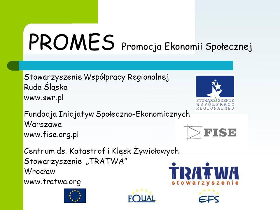 PROMES Promocja Ekonomii Społecznej Stowarzyszenie Współpracy Regionalnej Ruda Śląska www.swr.pl Fundacja Inicjatyw Społeczno-Ekonomicznych Warszawa www.fise.org.pl Centrum ds.
