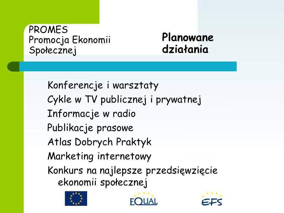 PROMES Promocja Ekonomii Społecznej Konferencje i warsztaty Cykle w TV publicznej i prywatnej Informacje w radio Publikacje prasowe Atlas Dobrych Praktyk Marketing internetowy Konkurs na najlepsze przedsięwzięcie ekonomii społecznej Planowane działania