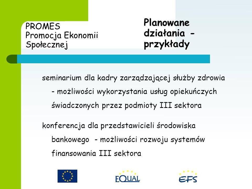 PROMES Promocja Ekonomii Społecznej seminarium dla kadry zarządzającej służby zdrowia - możliwości wykorzystania usług opiekuńczych świadczonych przez podmioty III sektora konferencja dla przedstawicieli środowiska bankowego - możliwości rozwoju systemów finansowania III sektora Planowane działania - przykłady